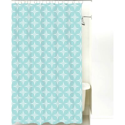 Nautical Compass Cotton Shower Curtain Color: Light Blue