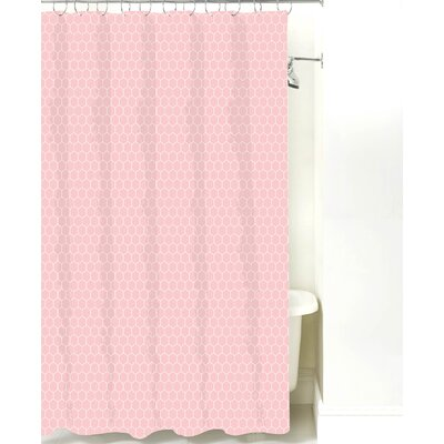 Mosaic Cotton Shower Curtain Color: Pink