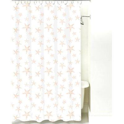 Starfish Cotton Shower Curtain Color: Peach