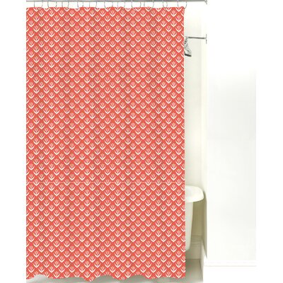 Wild Meadow Cotton Shower Curtain Color: Coral