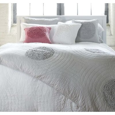 Amore Quilted Duvet Cover Set Color: Pink, Size: Double/Queen