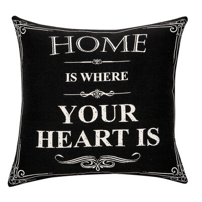 Deco Home Is Where Your Heart Is Cotton Throw Pillow