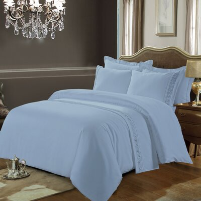 Greek Key 3 Piece Duvet Cover Set Color: Blue, Size: King