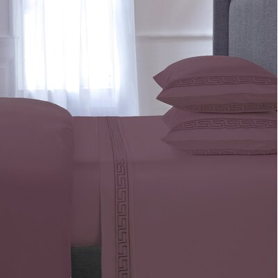 Greek Key Embroidered 4 Piece 600 Thread Count 100% Cotton Sheet Set Color: Purple, Size: King