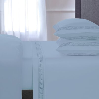 Chasing Embroidered 4 Piece 600 Thread Count 100% Cotton Sheet Set Size: Queen, Color: Blue