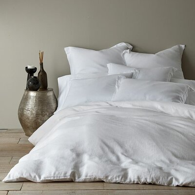 3 Piece French Linen Duvet Cover Set Size: Queen, Color: White