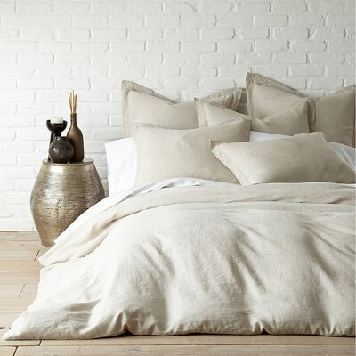 3 Piece French Linen Duvet Cover Set Size: King, Color: Ivory