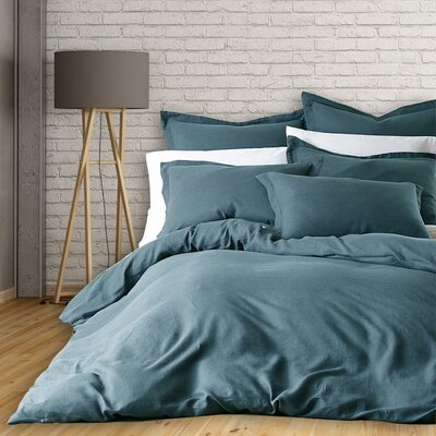 Lorran 3 Piece French Linen Duvet Cover Set Size: Queen, Color: Smoke Green