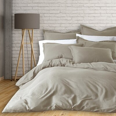 Lorran 3 Piece French Linen Duvet Cover Set Size: King, Color: Gray