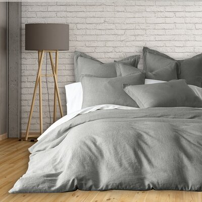 Lorran 3 Piece French Linen Duvet Cover Set Size: Queen, Color: Silver
