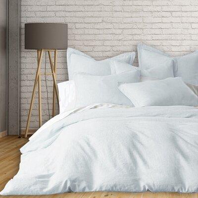Lorran 3 Piece French Linen Duvet Cover Set Size: Queen, Color: Sky Blue