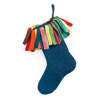 Hand Felted Wool Christmas Stocking Color: Navy