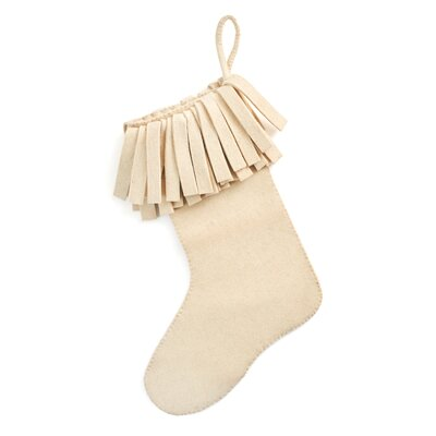 Hand Felted Wool Christmas Stocking with Fringe