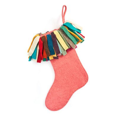 Hand Felted Wool Christmas Stocking Color: Pink