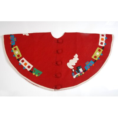 Toy Train Christmas Tree Skirt Color: Red