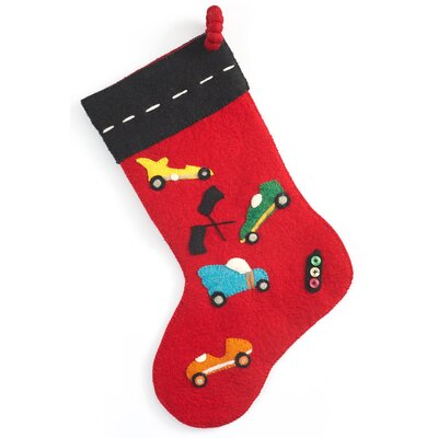Hand Felted Wool Racing Theme Stocking