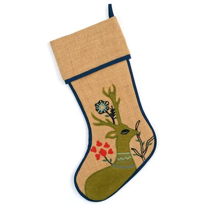 Rustic Jute Christmas Stocking with Hand-Embroidered Reindeer Scene