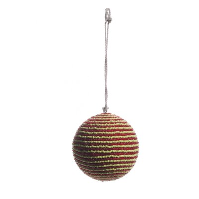Beaded Striped Ball Ornament Color: Red/Green OB3335