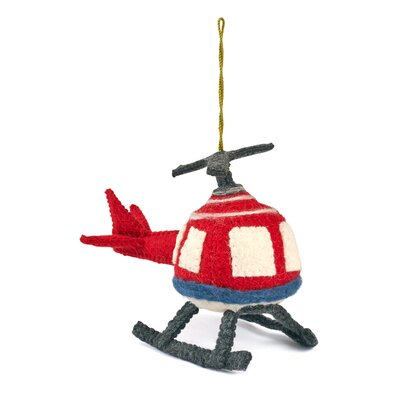 Hand Felted Wool Helicopter Christmas Ornament (Set of 2)