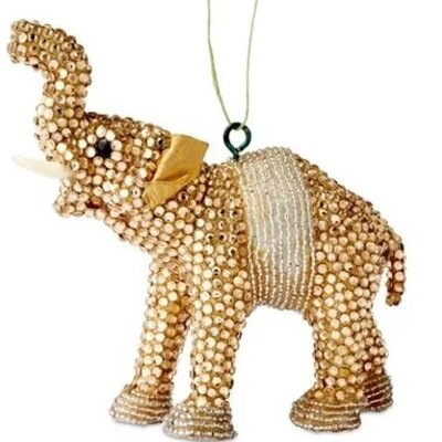 Handmade Good Luck Elephant Christmas Ornament with Glass Beads (Set of 2)