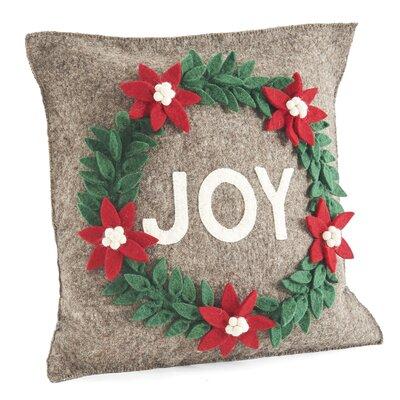 Joy Wreath Wool Pillow Cover