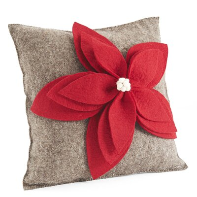 Poinsettia Wool Throw Pillow Cover