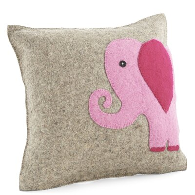 Elephant Wool Pillow Cover Color: Pink