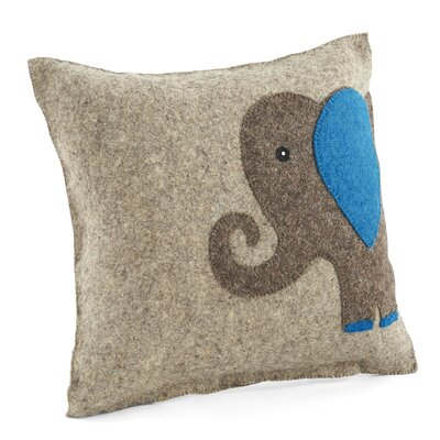 Elephant Wool Pillow Cover Color: Blue/Gray