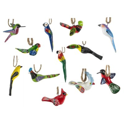 12 Piece Hand Painted Ceramic Bird Ornament Set