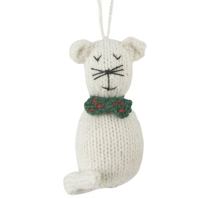Hand Knit Cat Christmas Ornament (Set of 2)