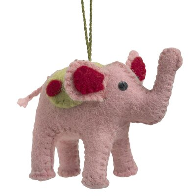 Hand Felted Wool Elephant Christmas Ornament (Set of 2)