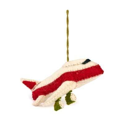 Hand Felted Wool Jet Airplane Christmas Ornament (Set of 2)