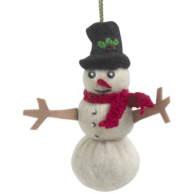 Hand Felted Wool Snowman Ornament (Set of 2)