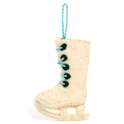Hand Felted Wool Figure Skate Christmas Ornament (Set of 3)