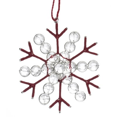 Large Jute and Recycled Glass Bead Snowflake Christmas Ornament (Set of 4) OJ3R