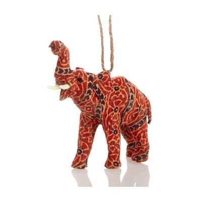 Handmade Paper Mache Elephant Christmas Ornament (Set of 3)