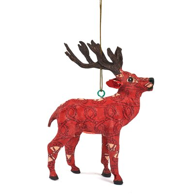 Handmade Paper Mache Reindeer Christmas Ornament (Set of 3)