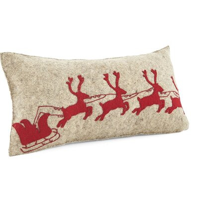 Santas Sleigh Ride Wool Pillow Cover