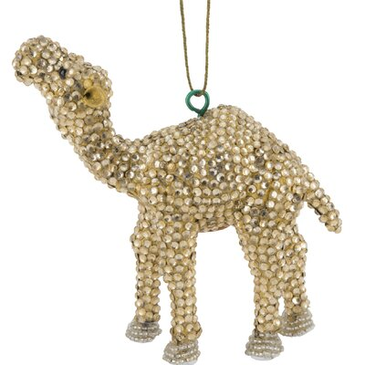 Handmade Camel Christmas Ornament with Glass Beads (Set of 2) Color: Gold