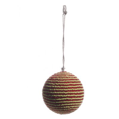 Beaded Striped Ball Ornament (Set of 6) Color: Red/Green OB3335