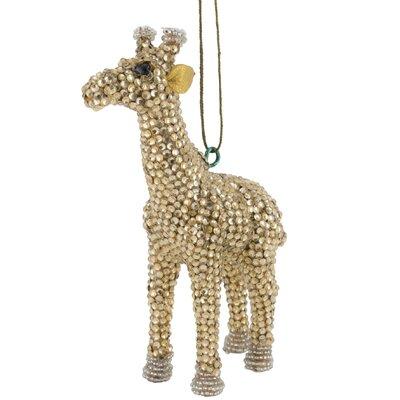 Handmade Giraffe Christmas Ornament with Glass Beads (Set of 2) Color: Gold