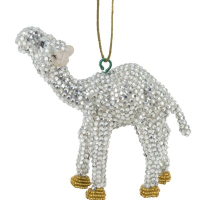 Handmade Camel Christmas Ornament with Glass Beads (Set of 2) Color: Silver