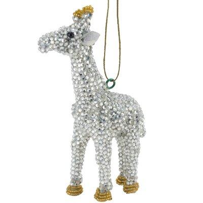 Handmade Giraffe Christmas Ornament with Glass Beads (Set of 2) Color: Silver