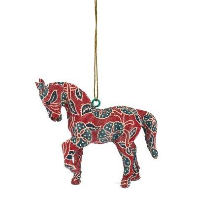 Handmade Paper Mache Horse Christmas Ornament (Set of 3)