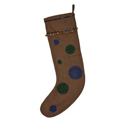Herringbone Wool Stocking with Circles SW-0602M