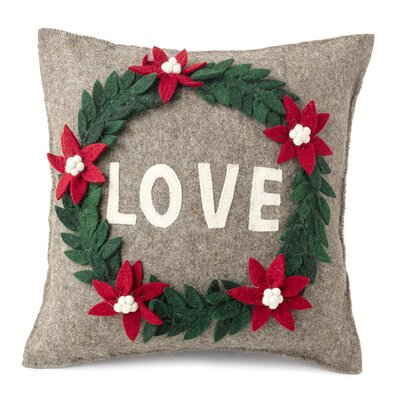 Love Wreath Hand Felted Wool Pillow Cover