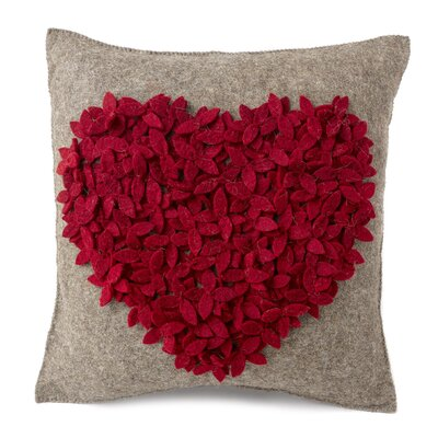 Heart Hand Felted Wool Pillow Cover