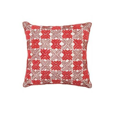 Embroidered Silk Throw Pillow Cover Color: Red