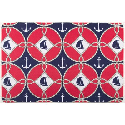 Nautical Sailboats and Anchors Floor Mat