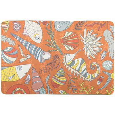 Coastal Sea Life Rust Floor Mat